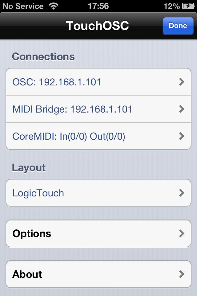 TouchOSC Configuration