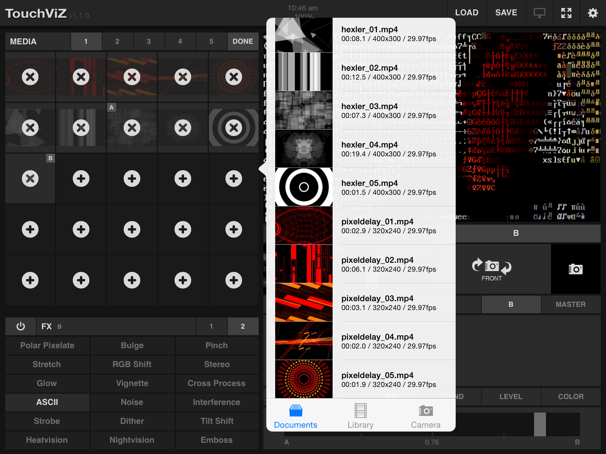 TouchViZ screen